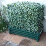 cache clim bois peinture verte
