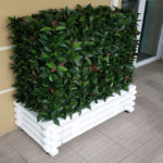 cache climatiseur avec taille personnalisable en bois blanc et feuilles