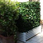 cache climatiseur sur jardinière bois feuillage